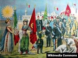 Хромолитография, изображающая завоевание Ливии в результате итало-турецкой войны 1911 – 1912 годов. В августе 2008 года Сильвио Берлускони и Муаммар Каддафи подписали в Бенгази договор, по которому Италия обязалась выплатить Ливии 5 миллиардов долларов в качестве компенсации за годы оккупации.