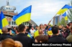Диана Берг на митинге в Донецке