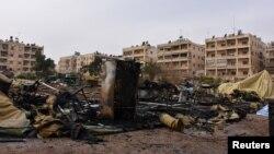 Наслідки міноментого обстрілу російського мобільного госпіталю. Алеппо, 5 грудня 2016 року