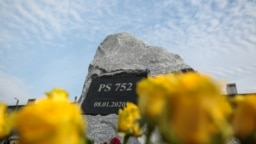 A memorial to the victims of Flight PS752 that was unveiled at Boryspil Airport in Kyiv on February 17.