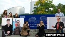 აზერბაიჯანელ უფლებადამცველთა საპროტესტო აქცია ევროპის საბჭოს წინ