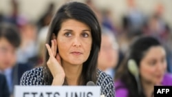 US Ambassador to the United Nations Nikki Haley addresses a session of UN Human Rights Council in Geneva on June 6.