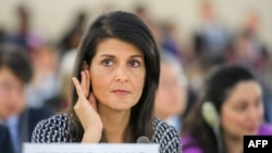 US Ambassador to the United Nations Nikki Haley as she addresses a session of United Nations Human Rights Council in Geneva, June 6, 2017