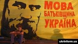 Під час «Мовного майдану». Біля будівлі Українського дому в Києві, 4 липня 2012 року