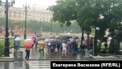 Участники акции 2 августа в Хабаровске