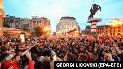 Прослава на Плоштадот Македонија во Скопје откако Ракометниот клуб Вардар во 2019 година по втор пат ја освои Лигата на шампионите.