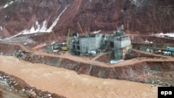 Tajikistan -- Tthe Rogun dam under construction on the Vakhsh river in Rogun, 23Feb2010