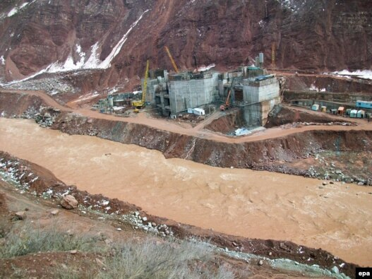 The Roghun Dam under construction on the Vakhsh River in February 2010