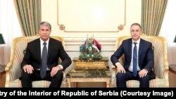 Ministtri unutrašnjih poslova Azerbejdžana i Srbije, Vilajet Ejvazov i Nebojša Stefanović u Bakuu 11. avgusta