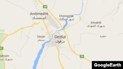 Iran -- City of Dezful on map.
