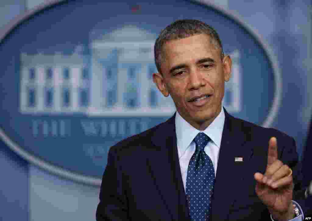 """Președintele Statelor Unite Barack Obama vorbind presei despre """"sechestru"""" la Casa Albă,1 martie 2013"""