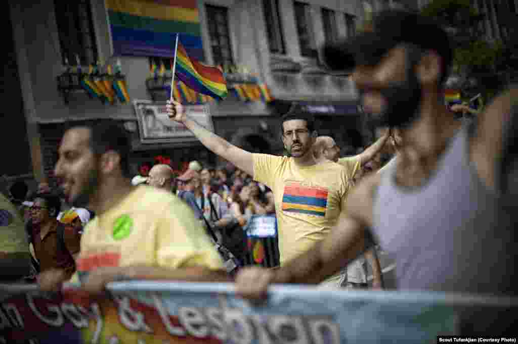 "Members of the the Armenian Gay and Lesbian Association marching in the LGBT Pride Parade in New York. ""When I was growing up, there was this very small box that you had to fit into to be a good Armenian,"" Tufankjian says. ""That box is really expanding."""