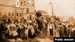 Карціна Яўгена Зайцава «Ўступленьне Чырвонай Арміі ў Менск у 1920 годзе»