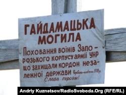 1918 жылы құрылған Украина Халық Республикасы жауынгерлеріне қойылған мемориал тақтасы. Украина, Луганск облысы.