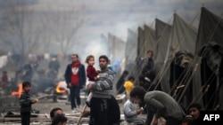 Лагерь для беженцев в болгарском городе Харманли