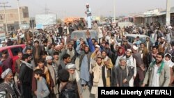 Afghans in Kunduz protest against civilian casualties in November.