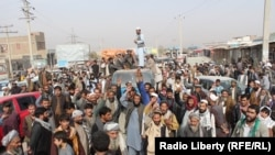 FILE: A protest against civilian casulaties in Kunduz, November 2016.