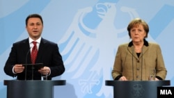 Прес-конференција по средбата меѓу премиерот Никола Груевски и германската канцеларка Ангела Меркел во Берлин.