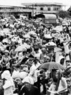 An archive picture shows Cambodian people leaving Phnom Penh after Khmer Rouge forces seized and emptied the Capital, on the17 April 1975.