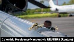 Կոլումբիայի նախագահի ուղղաթիռի վրա երևում է հարվածի հետքը, 25-ը հունիսի, 2021թ.