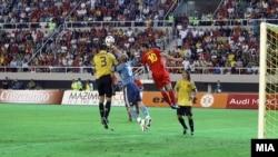 Момент од натпреварот Македонија - Шпанија
