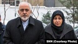 محمدجواد ظریف در کنار همسرش، مریم ایمانیه