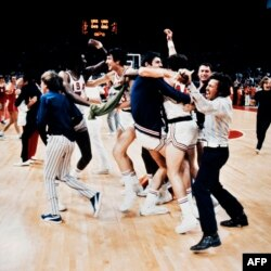 The U.S. team celebrates after what it thought was a victory over the Soviet Union.