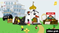 "A screen grab of the ""Don't Let Pussy Riot Into The Cathedral"" game, in which guitar-wielding women in balaclavas assault a Russian Orthodox Church and can only be fended off with a cross."