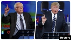 Bernie Sanders (solda) və Donald Trump