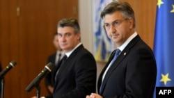 Zoran Milanović i Andrej Plenković, nakon dodjeljivanja mandata za sastav Vlade, srpanj 2020