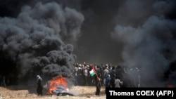 Сутички між палестинцями й ізраїльською армією на кордоні в Смузі Гази, 14 травня 2018 року