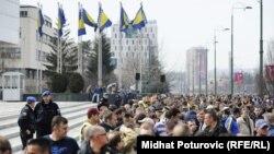 Protest penzionisanih pripadnika Oružanih snaga BiH, Sarajevo, mart 2012.