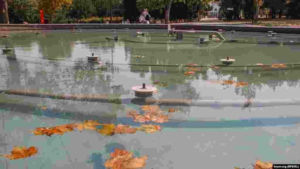 В этом фонтане плавают листья, опадающие с соседних деревьев
