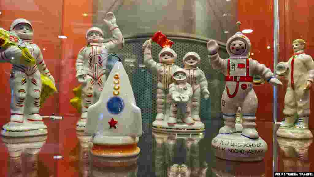 Porcelain figures are displayed in the Memorial Museum of Cosmonautics in Moscow. The museum is dedicated to space exploration, with exhibits, items, and models related to the Soviet and Russia space eras. (EPA-EFE/Felipe Trueba)