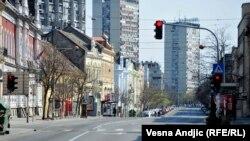 Prazne ulice Beograda usled policijskog časa tokom pandemije korona virusa