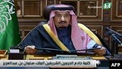 Սաուդյան Արաբիայի թագավոր Սալմանը հեռուստաուղերձով է հանդես գալիս, հունվար, 2015թ․