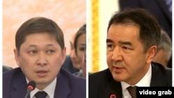 Премьер-министры Кыргызстана и Казахстана Сапар Исаков (слева) и Бакытжан Сагинтаев.