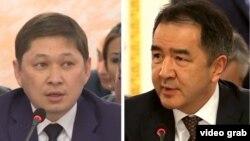 Қырғызстан премьер-министрі Сапар Исаков (сол жақта) пен Қазақстан премьер-министрі Бақытжан Сағынтаев.