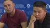 Кастер Мусаханулы (слева) и Мурагер Алимулы на пресс-конференции в Алматы, во время которой они сообщили о бегстве из Китая и попросили убежище в Казахстане. 14 октября 2019 года.