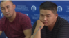 Qaster Musakhanuly (left) and Murager Alimuly appear at a press conferences in Almaty in October.