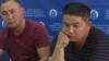 Кастер Мусаханулы (слева) и Мурагер Алимулы на пресс-конференции в пресс-центре Казахстанского бюро по правам человека за несколько часов до задержания. Алматы, 14 октября 2019 года.