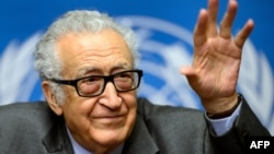 UN-Arab League envoy for Syria Lakhdar Brahimi gestures during a press briefing on peace talks at the United Nations headquarters on January 29 in Geneva.