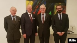 File - German head of The Instrument in Support of Trade Exchanges (INSTEX), Per Fischer (second from right) poses with the envoys of Britain, France and Germany in Iran, March 11, 2019.