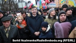 Mikheil Saakashvili marches with supporters in Kyiv on February 4.