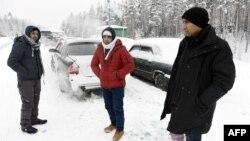 Финляндия-Ресей шекарасында тұрған босқындар. 23 қаңтар 2016 жыл.