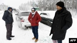 Беженцы из Афганистана у российско-финляндской границы, 23 января 2016