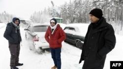 Беженцы из Афганистана у российско-финляндской границы, 23 января 2016.