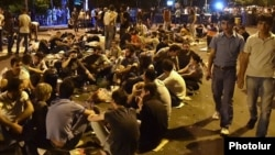 Armenia - Young protesters spend the third night on a blocked secton of Marshal Bagramian Avenue, Yerevan, 25Jun2015.