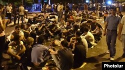 Armenia - Young protesters spend a third night on a blocked secton of Marshal Bagramian Avenue, Yerevan, 25Jun2015.