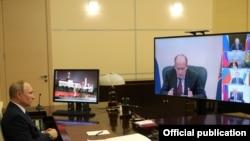 Путин во время видеоконференции в Ново-Огарево, январь 2021 г.